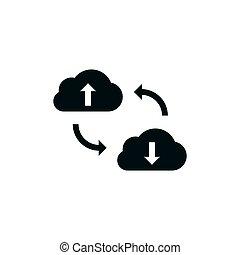 synchronisation, données, nuage, icône