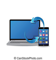 synchronisieren, laptop, klug, telefon
