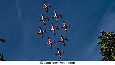 synchronisiert, flug, manoevers, öffentlichkeit,...
