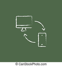 Synchronization computer with mobile device icon drawn in chalk.