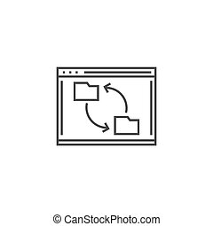 Synchronization Related Vector Thin Line Icon. Isolated on White Background. Editable Stroke. Vector Illustration.