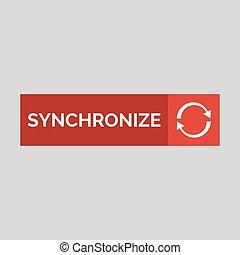 Synchronize flat button on grey background.