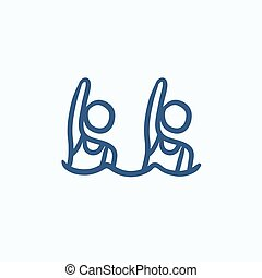 Synchronized swimming sketch icon.