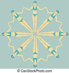 Synchronized swimming vector illustration