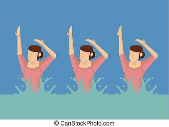 Synchronized Swimming Vector Illustration - Vector ...