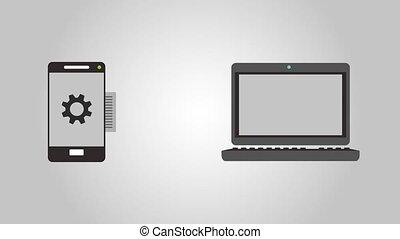 synchronizing, akten, zwischen, smartphone, und, laptop, hd,...