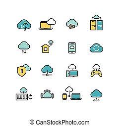 syncing, computadora, nube, informática, red, grande, datos, análisis, seguridad de internet, línea, vector, iconos