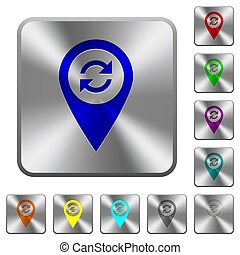 Syncronize GPS map location rounded square steel buttons
