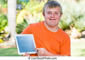 syndrom, tabliczka, screen., młody, na dół, czysty, spoinowanie, człowiek
