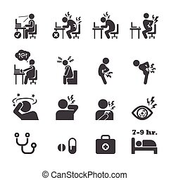 syndrome, bureau, icône