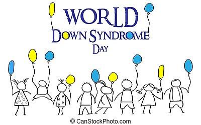 syndrome., colorato, giorno, giù, mondo, doodles, balloons., bambini