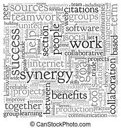 synergi, begrepp, ord, moln, etikett