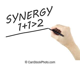 synergie, écrit, homme, mot, main
