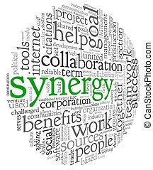 synergie, begriff, wort, wolke, etikett