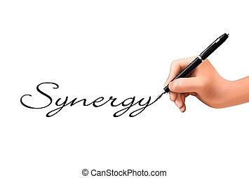 synergie, geschrieben, 3d, wort, hand
