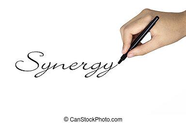 synergie, main humaine, mot, écrit