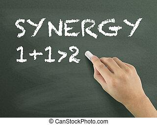 synergie, mot écrit, main