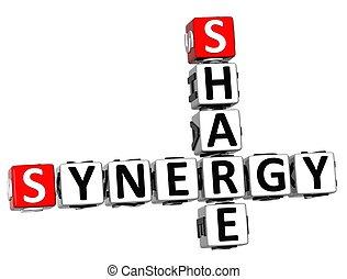synergie, mots croisés, part, 3d