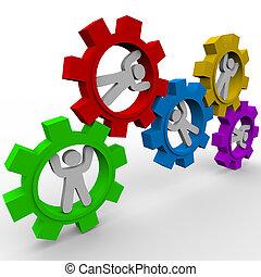 synergie, -, tourner, engrenages, gens