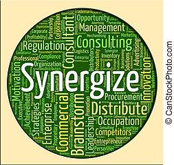 synergize, collaborare, parola, lavorare insieme, mostra