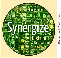 synergize, collaborer, mot, travailler ensemble, spectacles