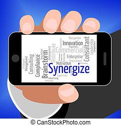 synergize, mot, collaboration, travail, ensemble, spectacles