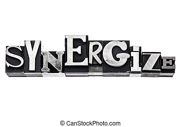 synergize word in metal type