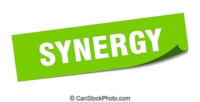 synergy., éplucheur, signe., sticker., carrée, synergie