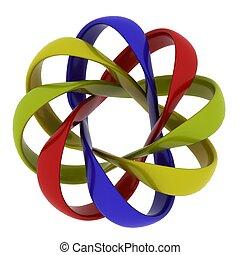 synergy, abstract, voorwerpen, vrijstaand, op wit,...