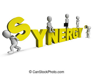 Synergy Characters Shows Teamwork Collaboration Team Work -...