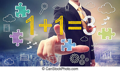 Synergy concept 1 1=3 - Businessman pointing at synergy...