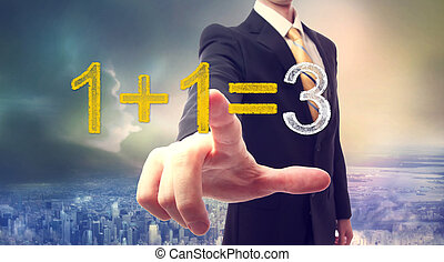 Synergy concept 1+1=3 - Businessman pointing at synergy...