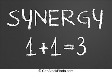 Synergy concept - Synergy 1 +1 = 3 written on a chalkboard
