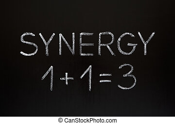 Synergy concept 1+1=3 made with white chalk on a blackboard.