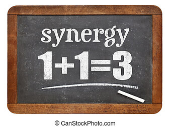 synergy concept on blackboard