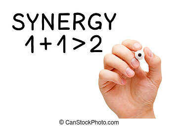 Synergy Concept - Hand writing Synergy concept 1+1>2 with...