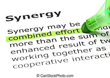 'synergy', effort', debajo, título, 'combined