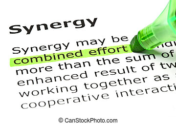 'synergy', effort', sob, título, 'combined