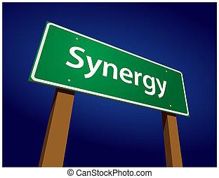 synergy, groene, straat, illustratie, meldingsbord
