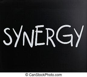 """""""synergy"""", křída, rukopisný, tabule, vzkaz, neposkvrněný"""