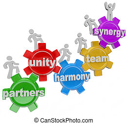 A group of people walking upward on connected gears with the words Partners; Unity; Harmony; Team and Synergy to symbolize the rise, achievement and success of many individuals working together in teamwork