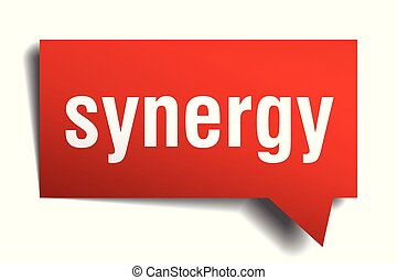 synergy red 3d speech bubble - synergy red 3d square...