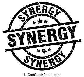 synergy round grunge black stamp