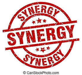 synergy round red grunge stamp