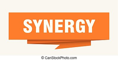 synergy sign. synergy paper origami speech bubble. synergy...