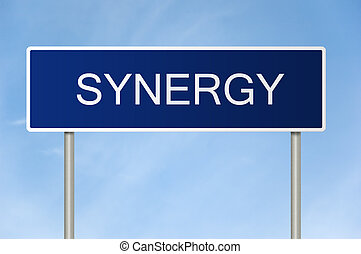 synergy, tekst, wegaanduiding