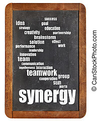 synergy, woord, wolk, op, bord