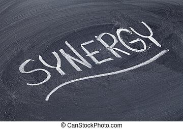 synergy word on blackboard