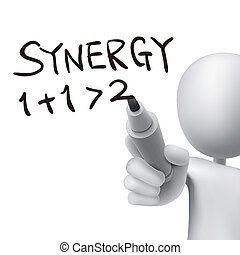 synergy word written by 3d man