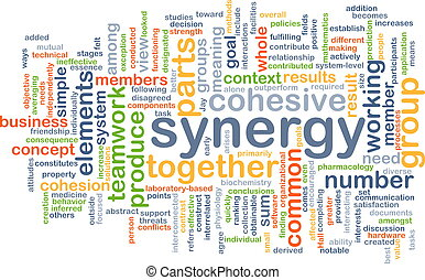synergy, wordcloud, concept, illustratie